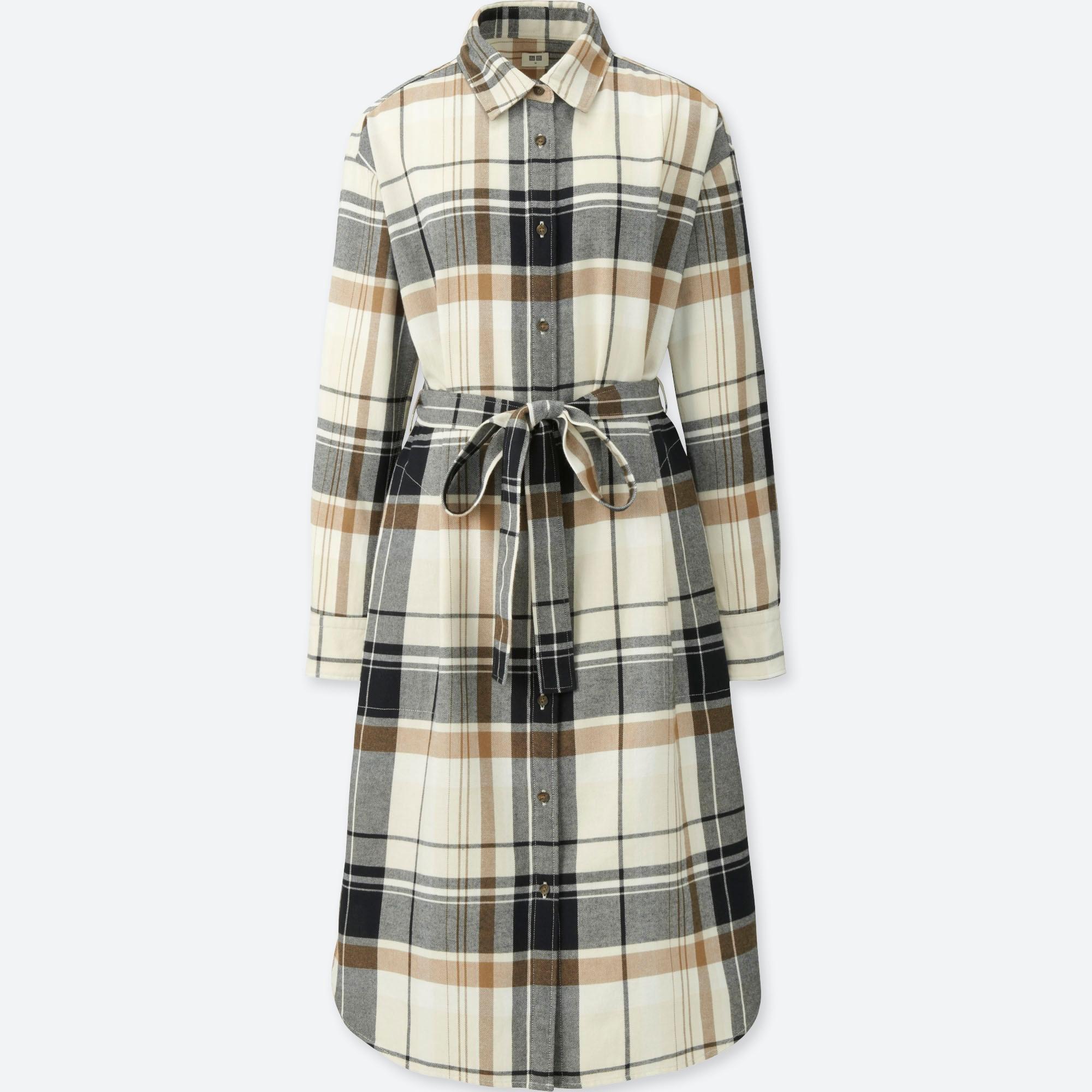 WOMEN FLANNEL LONG-SLEEVE SHIRT DRESS