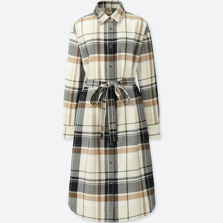 Women Flannel Long-Sleeve Shirt Dress, Off White, Large