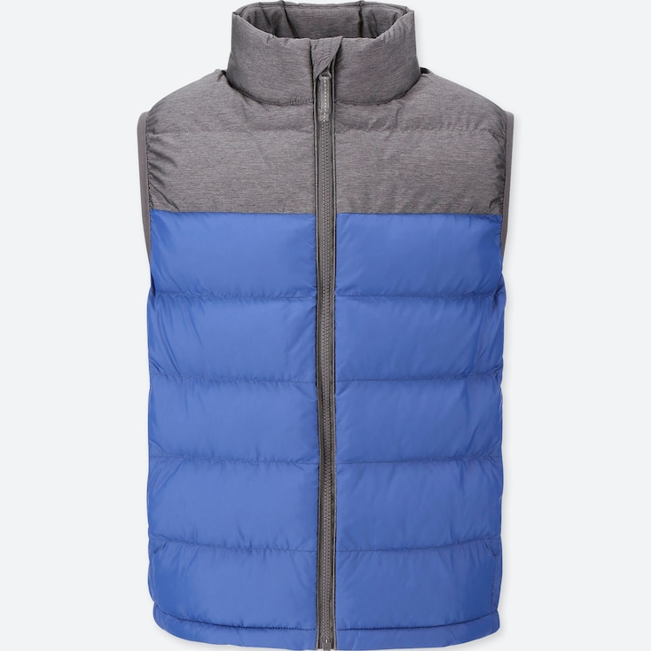 Kids Light Warm Padded Vest (Color Block), Blue, Large