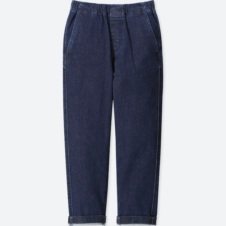 BOYS ULTRA STRETCH DENIM TAPERED ANKLE PANTS, BLUE, large