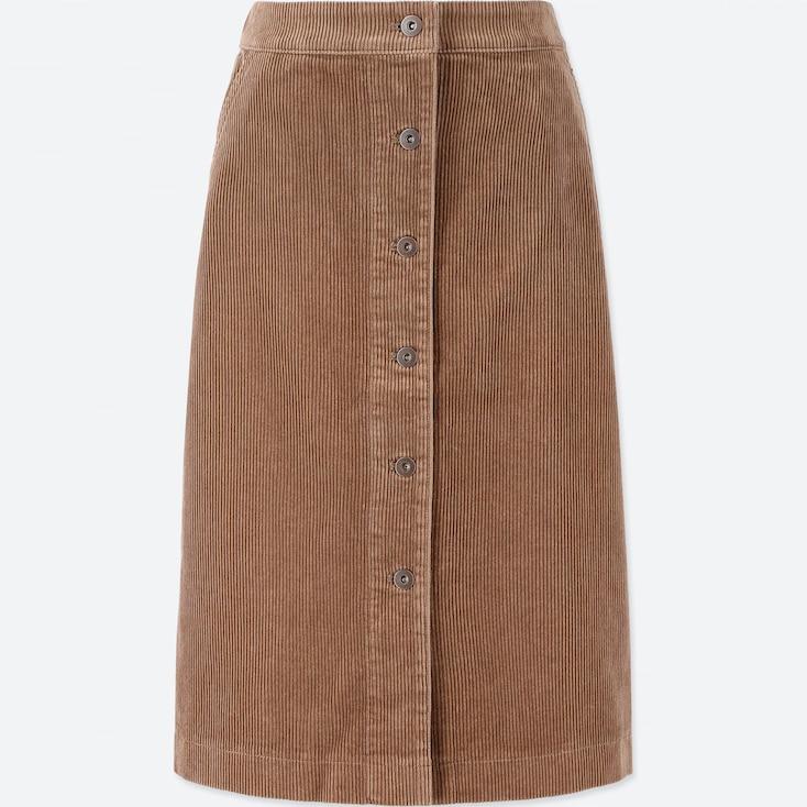 Women Corduroy High-Waist Front Button Skirt, Beige, Large