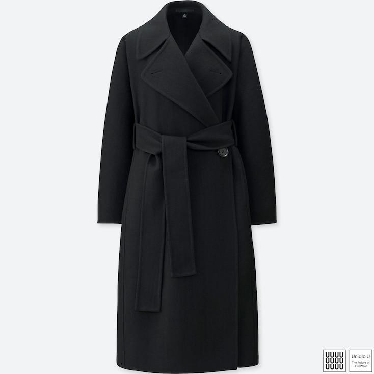 Women U Double Face Wrap Coat, Black, Large