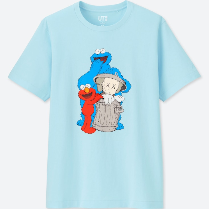 Kaws X Sesame Street Ut (Short-Sleeve Graphic T-Shirt), Blue, Large