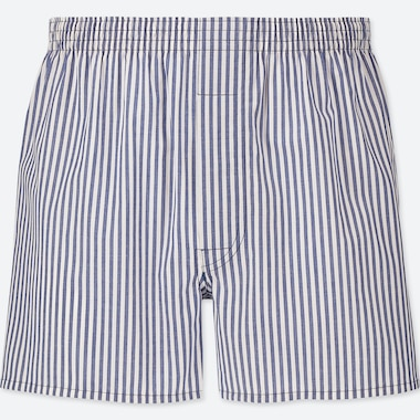 MEN WOVEN STRIPED BOXERS, BLUE, medium