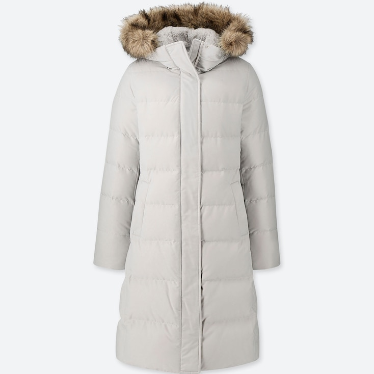 WOMEN ULTRA WARM DOWN LONG COAT (ONLINE EXCLUSIVE), LIGHT GRAY, large