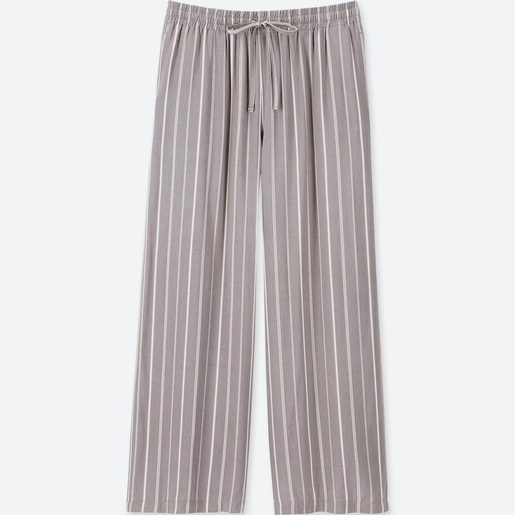 WOMEN STRIPED DRAPE WIDE PANTS, GRAY, large