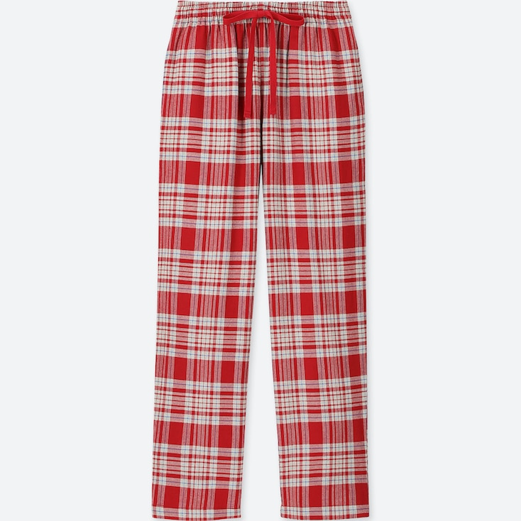 Women Plaid Flannel Pants, Red, Large