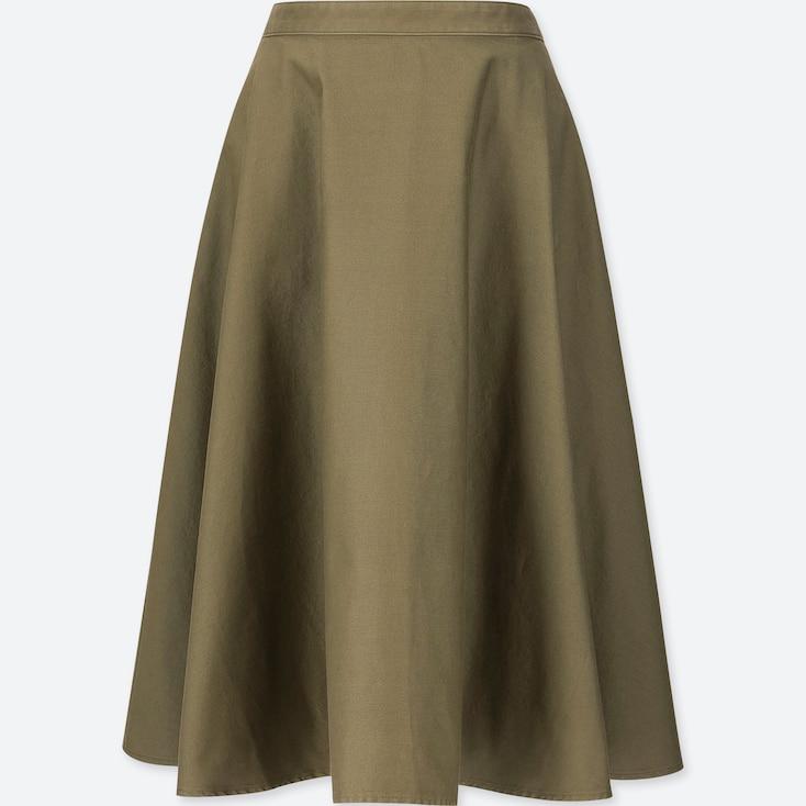 Women Cotton High-Waist Circular Skirt, Olive, Large
