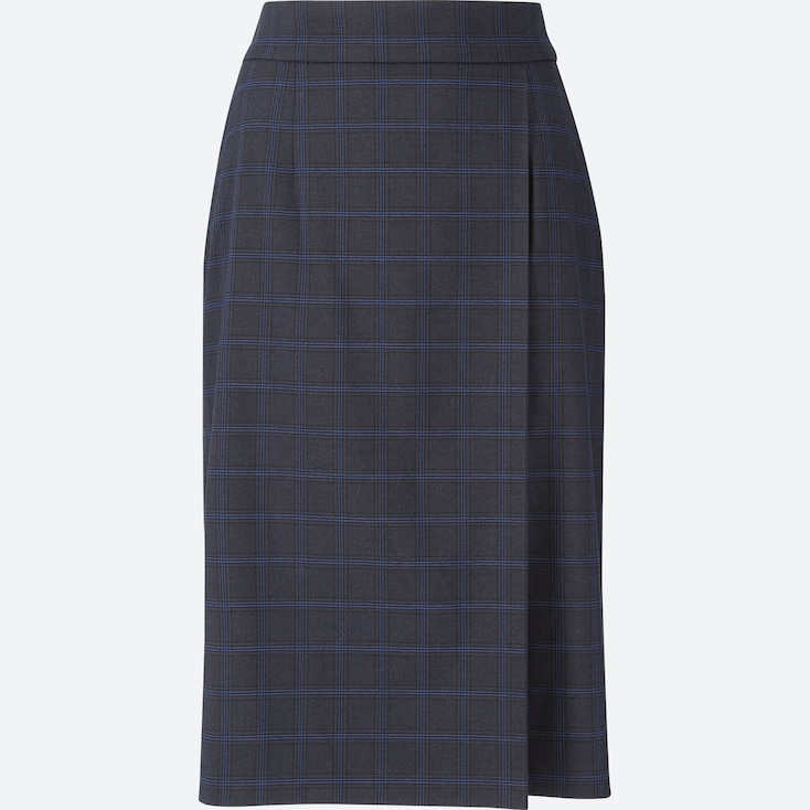 Women Checked High-Waist Narrow Skirt, Blue, Large