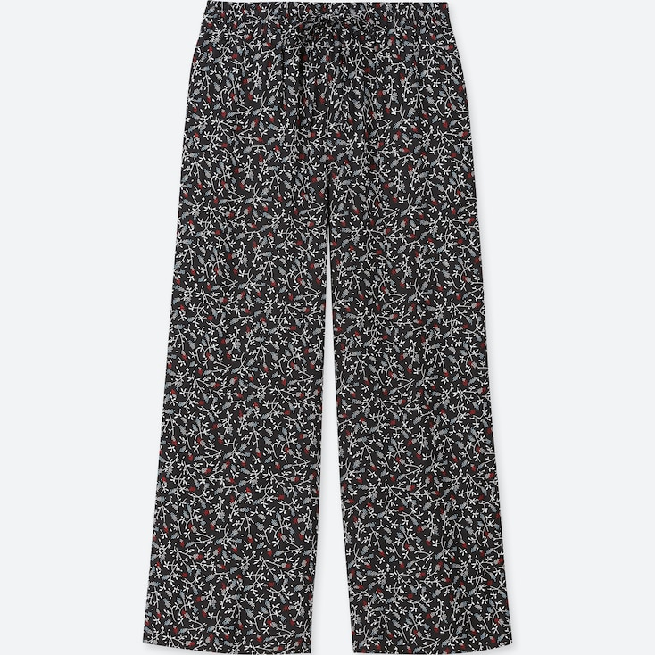 Women Floral-Print Drape Wide Pants, Black, Large