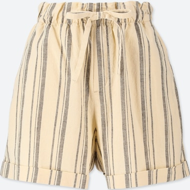 WOMEN COTTON LINEN STRIPED RELAXED SHORTS, OFF WHITE, medium