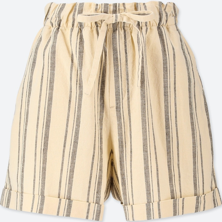 WOMEN COTTON LINEN STRIPED RELAXED SHORTS, OFF WHITE, large