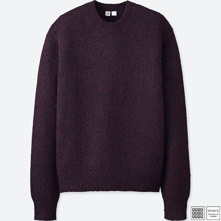 MEN U MELANGE CREW NECK LONG-SLEEVE SWEATER, PURPLE, large
