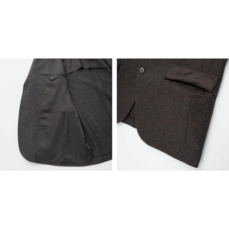 Men Wool Flannel Slim-Fit Jacket, Gray, Large
