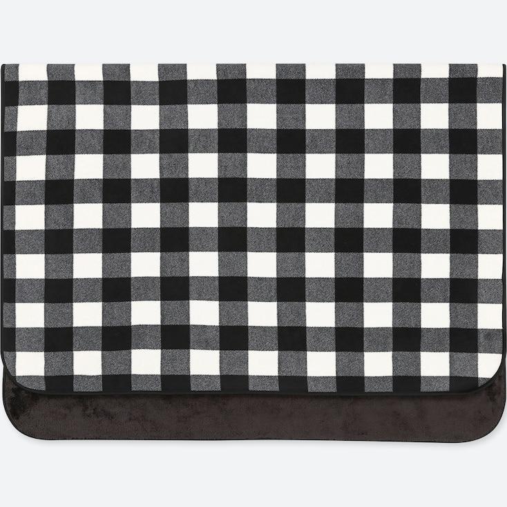 Fleece Block Checked Large Blanket, Black, Large