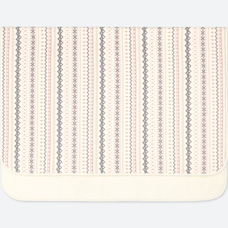 FLEECE FAIR ISLE LARGE BLANKET, OFF WHITE, large