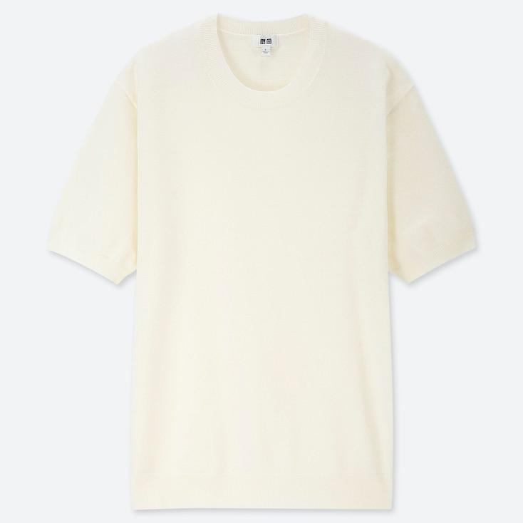 MEN WASHABLE CREW NECK SHORT-SLEEVE SWEATER, OFF WHITE, large