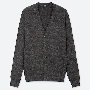 MEN LINEN BLEND V NECK CARDIGAN