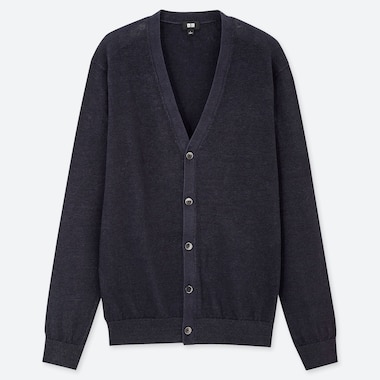 MEN LINEN BLENDED V-NECK LONG-SLEEVE CARDIGAN, NAVY, medium