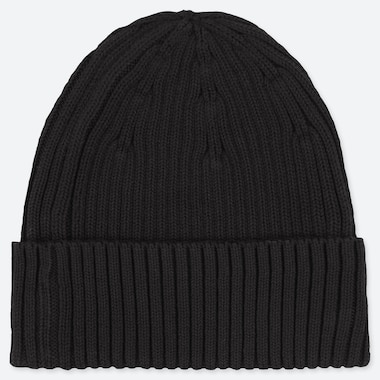 RIBBED BEANIE, BLACK, medium