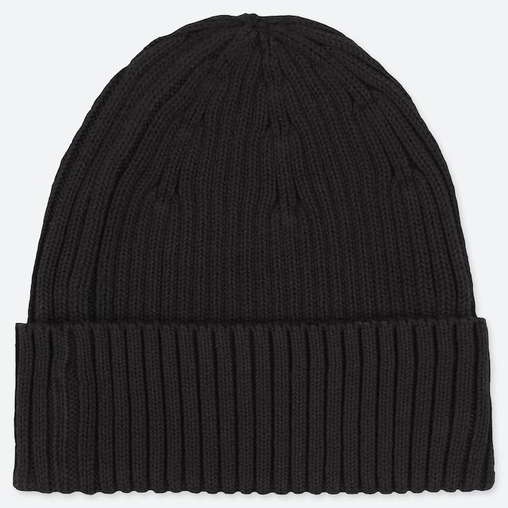 RIBBED BEANIE, BLACK, large