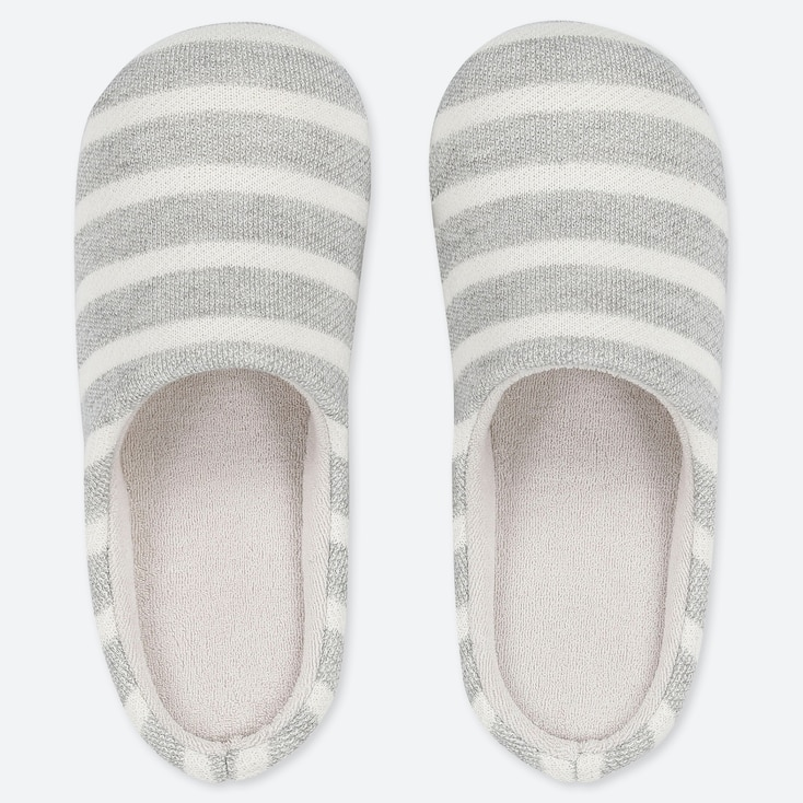 PATTERNED SLIPPERS, GRAY, large