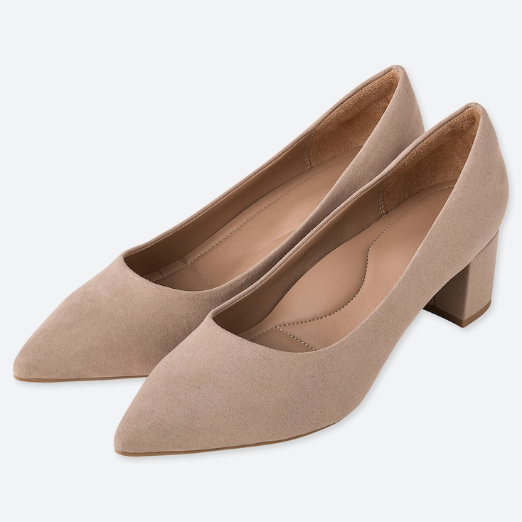 WOMEN CHUNKY HEELED SHOES, BEIGE, large