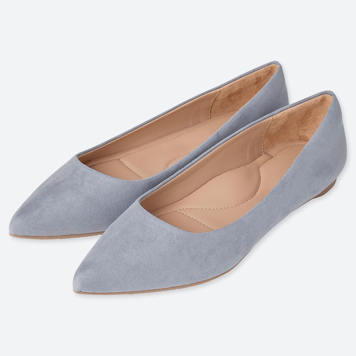 WOMEN POINTED FLAT SHOES, GRAY, large