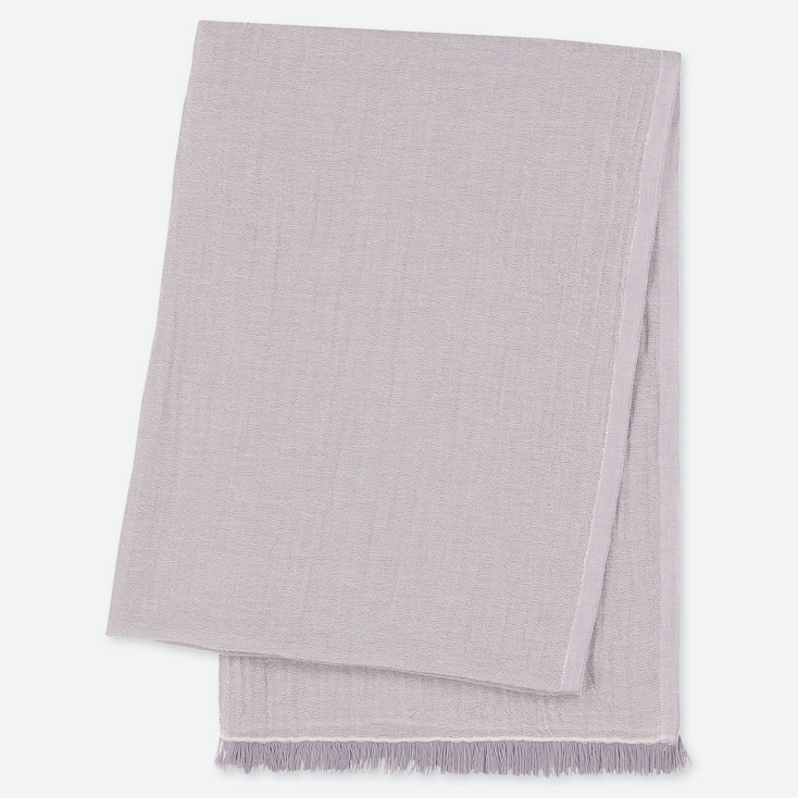 COTTON LINEN STOLE, LIGHT GRAY, large