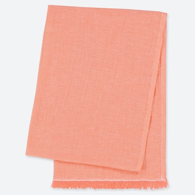 COTTON LINEN STOLE, LIGHT ORANGE, medium