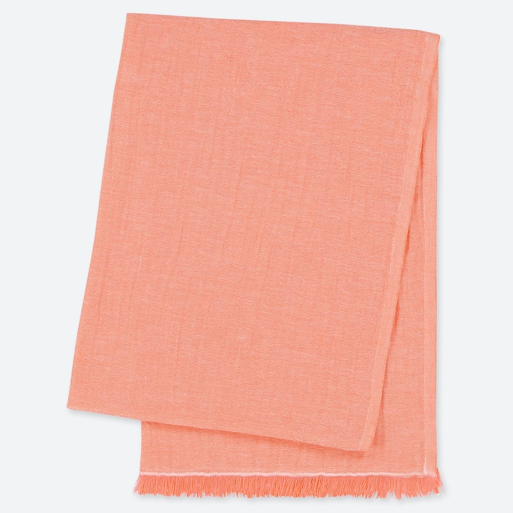 COTTON LINEN STOLE, LIGHT ORANGE, large
