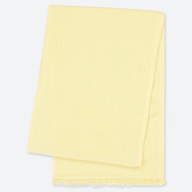 COTTON LINEN STOLE, YELLOW, medium