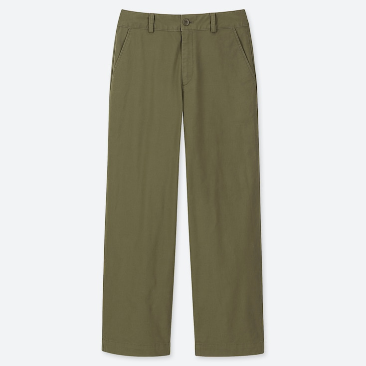 WOMEN HIGH-WAISTED WIDE STRAIGHT PANTS (CHINO), OLIVE, large