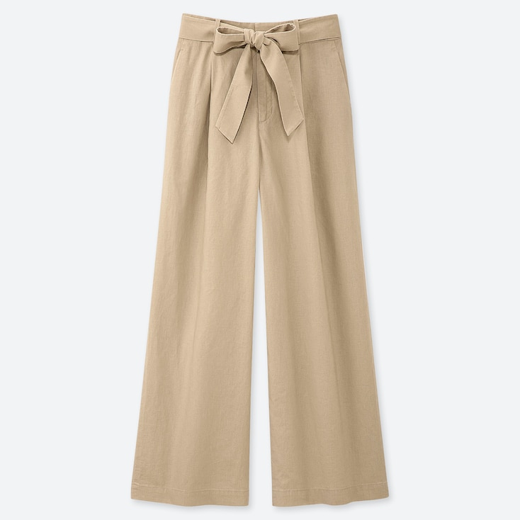 WOMEN BELTED LINEN COTTON WIDE STRAIGHT PANTS, BEIGE, large
