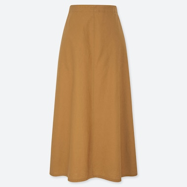 WOMEN LINEN COTTON LONG SKIRT, YELLOW, medium