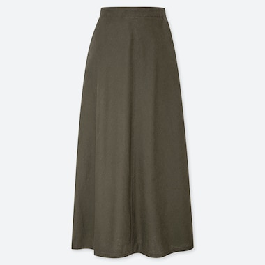 WOMEN LINEN COTTON LONG SKIRT, OLIVE, medium