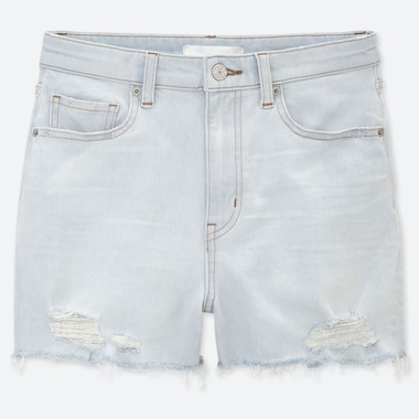 WOMEN HIGH RISE SLIM FIT DISTRESSED DENIM SHORTS