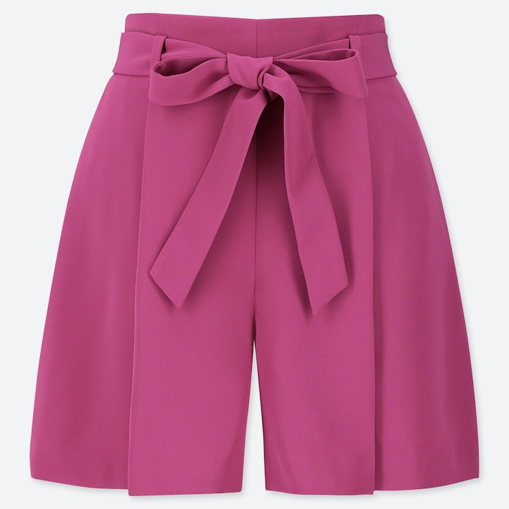 WOMEN DRAPE SHORTS, PINK, large