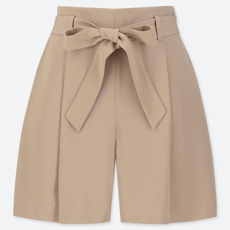 WOMEN DRAPE SHORTS, BEIGE, large