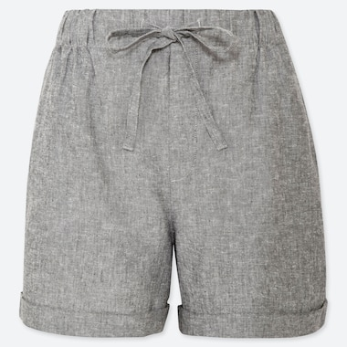 WOMEN LINEN COTTON RELAXED SHORTS, DARK GRAY, medium