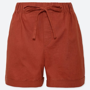 WOMEN LINEN BLEND RELAXED SHORTS