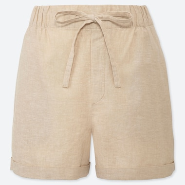 WOMEN LINEN COTTON RELAXED SHORTS, BEIGE, medium