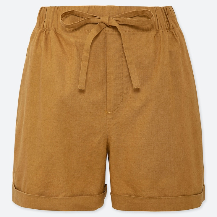 WOMEN LINEN COTTON RELAXED SHORTS, YELLOW, large