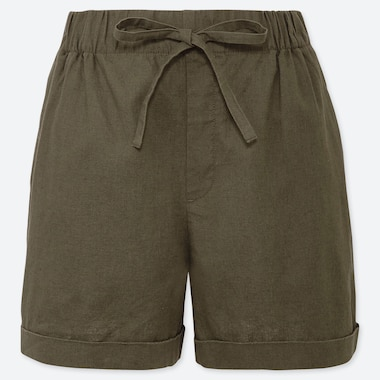 WOMEN LINEN COTTON RELAXED SHORTS, OLIVE, medium