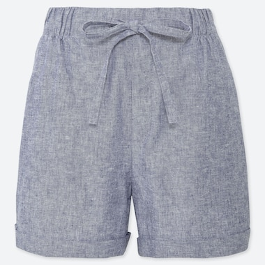 WOMEN LINEN COTTON RELAXED SHORTS, BLUE, medium