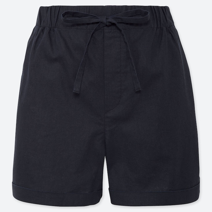 WOMEN LINEN COTTON RELAXED SHORTS, NAVY, large
