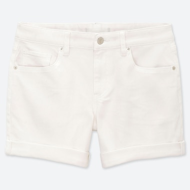 WOMEN MID-RISE ROLL-UP DENIM SHORTS (ONLINE EXCLUSIVE), WHITE, medium