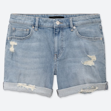 WOMEN MID RISE DENIM ROLL-UP SHORTS