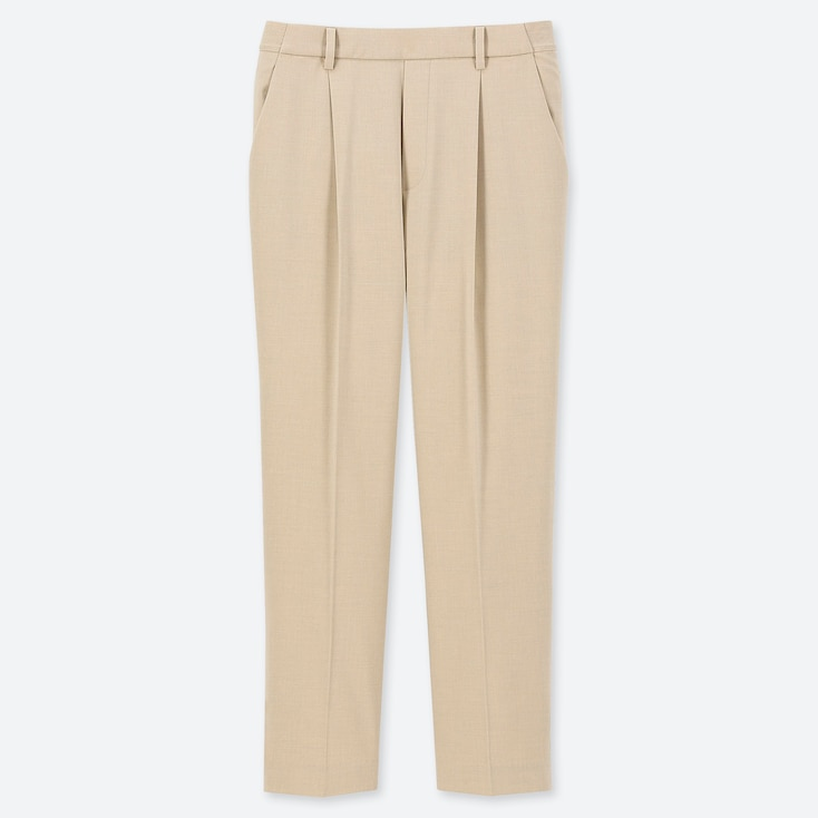 WOMEN EZY TUCKED ANKLE-LENGTH PANTS, NATURAL, large