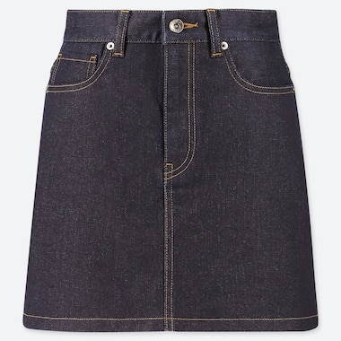 WOMEN DENIM MINI SKIRT, NAVY, medium